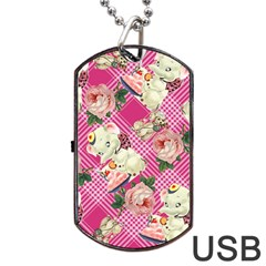 Retro Pets Plaid Pink Dog Tag Usb Flash (two Sides)