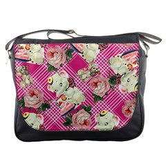 Retro Pets Plaid Pink Messenger Bag