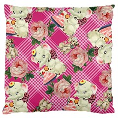 Retro Pets Plaid Pink Large Cushion Case (two Sides)