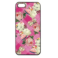 Retro Pets Plaid Pink Apple Iphone 5 Seamless Case (black)