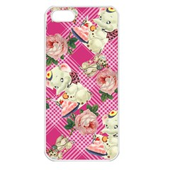 Retro Pets Plaid Pink Apple Iphone 5 Seamless Case (white)