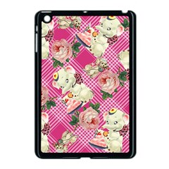 Retro Pets Plaid Pink Apple Ipad Mini Case (black)