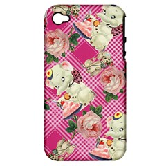 Retro Pets Plaid Pink Apple Iphone 4/4s Hardshell Case (pc+silicone)