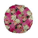 Retro Pets Plaid Pink Standard 15  Premium Round Cushions Front