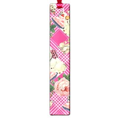 Retro Pets Plaid Pink Large Book Marks