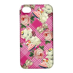 Retro Pets Plaid Pink Apple Iphone 4/4s Hardshell Case With Stand