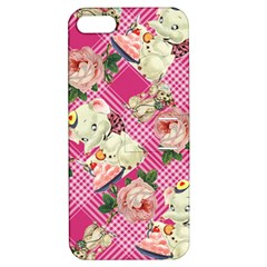 Retro Pets Plaid Pink Apple Iphone 5 Hardshell Case With Stand