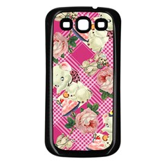 Retro Pets Plaid Pink Samsung Galaxy S3 Back Case (black)