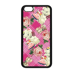 Retro Pets Plaid Pink Apple Iphone 5c Seamless Case (black)