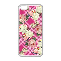 Retro Pets Plaid Pink Apple Iphone 5c Seamless Case (white)