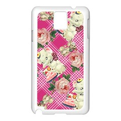 Retro Pets Plaid Pink Samsung Galaxy Note 3 N9005 Case (white)