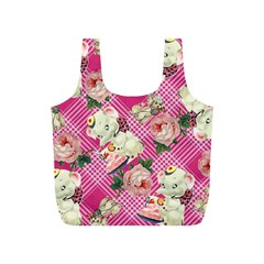 Retro Pets Plaid Pink Full Print Recycle Bag (s)