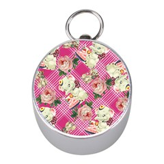 Retro Pets Plaid Pink Mini Silver Compasses
