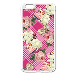 Retro Pets Plaid Pink Apple Iphone 6 Plus/6s Plus Enamel White Case