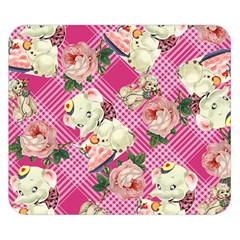 Retro Pets Plaid Pink Double Sided Flano Blanket (small)