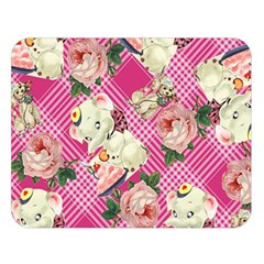 Retro Pets Plaid Pink Double Sided Flano Blanket (large)