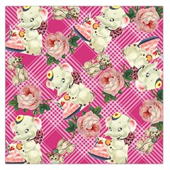 Retro Pets Plaid Pink Large Satin Scarf (square)