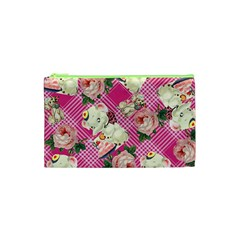Retro Pets Plaid Pink Cosmetic Bag (xs)