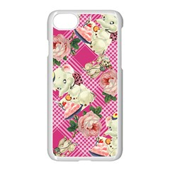 Retro Pets Plaid Pink Apple Iphone 7 Seamless Case (white)