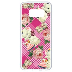 Retro Pets Plaid Pink Samsung Galaxy S8 White Seamless Case