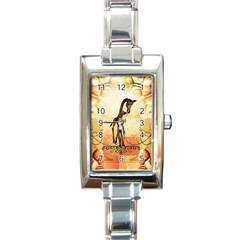 Cute Giraffe Mum With Funny Giraffe Baby Rectangle Italian Charm Watch by FantasyWorld7