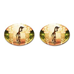Cute Giraffe Mum With Funny Giraffe Baby Cufflinks (oval) by FantasyWorld7