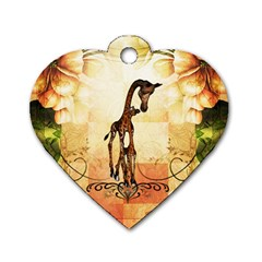 Cute Giraffe Mum With Funny Giraffe Baby Dog Tag Heart (two Sides)