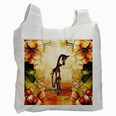 Cute Giraffe Mum With Funny Giraffe Baby Recycle Bag (one Side) by FantasyWorld7