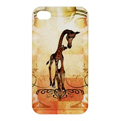 Cute Giraffe Mum With Funny Giraffe Baby Apple Iphone 4/4s Premium Hardshell Case by FantasyWorld7