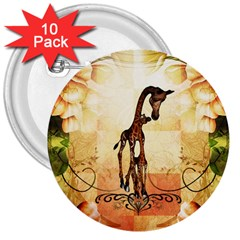 Cute Giraffe Mum With Funny Giraffe Baby 3  Buttons (10 Pack)  by FantasyWorld7