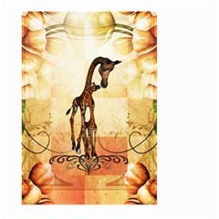 Cute Giraffe Mum With Funny Giraffe Baby Large Garden Flag (two Sides) by FantasyWorld7