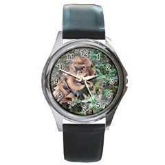 Abstract Of Mushroom Round Metal Watch
