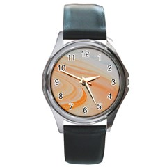 Orange And Blue 2 Round Metal Watch