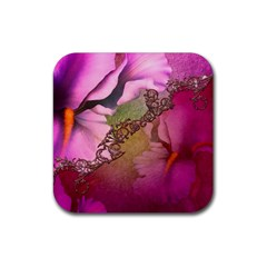 Flowers In Soft Violet Colors Rubber Square Coaster (4 Pack)  by FantasyWorld7