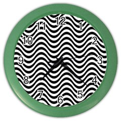 Wave Pattern Wavy Water Seamless Color Wall Clock by Nexatart