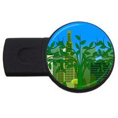 Environmental Protection Usb Flash Drive Round (2 Gb)