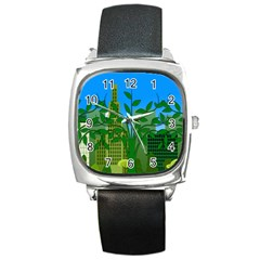 Environmental Protection Square Metal Watch