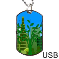 Environmental Protection Dog Tag Usb Flash (one Side)