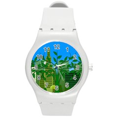 Environmental Protection Round Plastic Sport Watch (m)