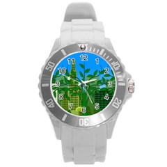 Environmental Protection Round Plastic Sport Watch (l)