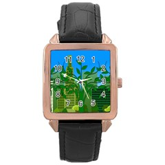 Environmental Protection Rose Gold Leather Watch
