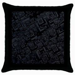 Black Rectangle Wallpaper Grey Throw Pillow Case (black)