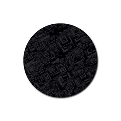 Black Rectangle Wallpaper Grey Rubber Round Coaster (4 Pack)