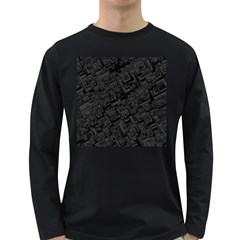Black Rectangle Wallpaper Grey Long Sleeve Dark T Shirt