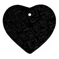 Black Rectangle Wallpaper Grey Heart Ornament (two Sides)