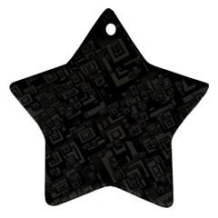 Black Rectangle Wallpaper Grey Star Ornament (two Sides)
