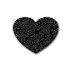 Black Rectangle Wallpaper Grey Rubber Coaster (heart)