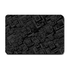 Black Rectangle Wallpaper Grey Small Doormat