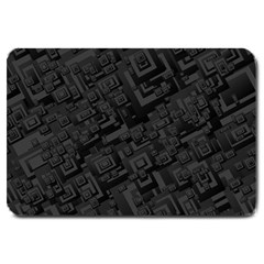 Black Rectangle Wallpaper Grey Large Doormat