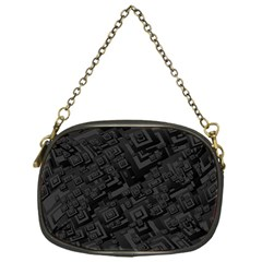 Black Rectangle Wallpaper Grey Chain Purse (one Side)